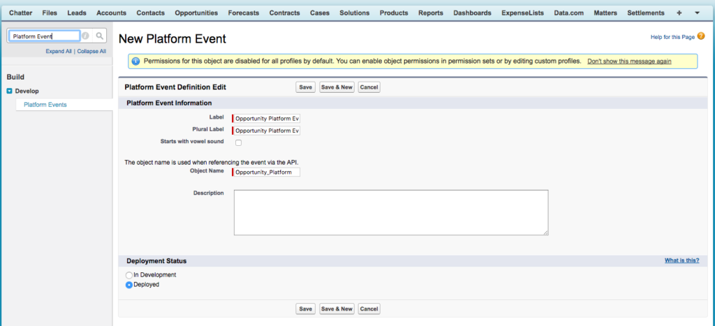 Salesforce Platform event setup